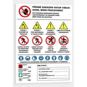Bezpečnostní tabule - práce s lešením , 1000x670mm